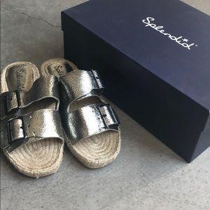 NEW Splendid Blake Buckle Espadrille Sandal Silver